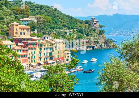 View of Portofino town -  famous resort on the Italian riviera in Liguria, Italy - Stock Photo
