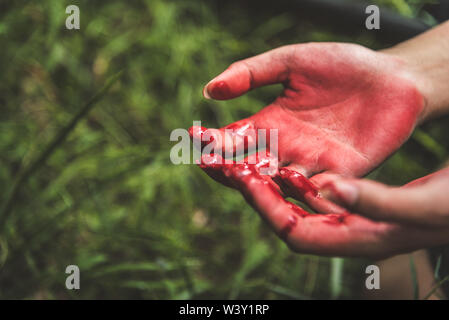 Close up of bloody hands in dark forest background. Horror and ghost concept. Criminal and murder concept. Halloween day and sacrifice theme. People a - Stock Photo