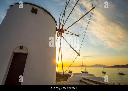 Windmills of Kato Mili, Mykonos Town, Mykonos, Cyclade Islands, Greece - Stock Photo