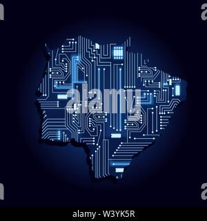 Contour map of Mato Grosso do Sul with a technological electronics circuit. Brazilian state. Blue background. - Stock Photo
