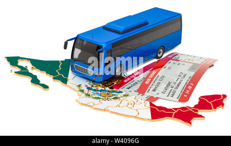 Bus travel in Mexico, concept. 3D rendering isolated on white background - Stock Photo
