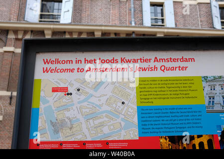 Information sign in the Amsterdam Jewish Quarter, This Information is in front of the Jewish Historical Museum. Amsterdam, The Netherlands. - Stock Photo
