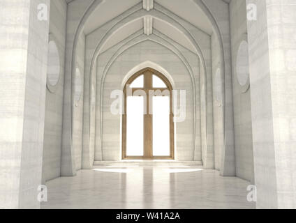 An empty grand church interior lit by suns rays through a stained glass window depicting the nativity scene - 3D render - Stock Photo