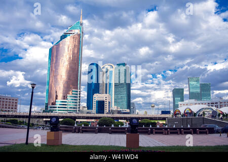 Astana, Kazakhstan. Center of the city, skyscraper, street - Stock Photo