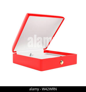 Jewelry box. Open empty case for jewels. 3d rendering illustration isolated on white background - Stock Photo