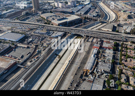 Aerial view of the Los Angeles river near the Hollywood 101 Freeway in downtown Los Angeles, California. - Stock Photo
