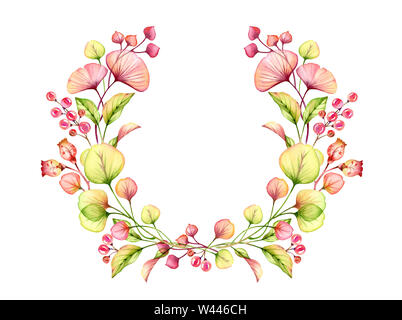 Watercolor Transparent floral arrangement round wreath of berries, leaves, branches in pastel pink, green orange red coral botanical illustration - Stock Photo