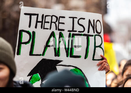 A closeup view of a homemade sign, saying there is no planet b, held by eco-activists during a march against climate change in the city. - Stock Photo
