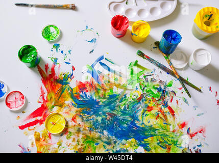 The canvas is painted with colorful colors. - Stock Photo