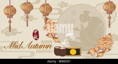 Retro style Chinese Mid Autumn festival vector design moon flower lantern tea moon cakes and beautiful woman Chang E from a legend. - Stock Photo