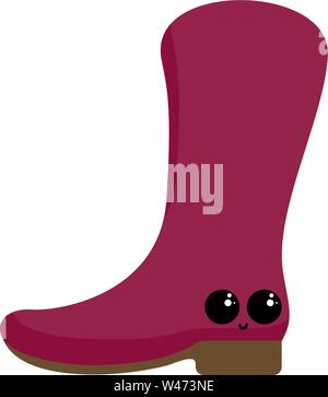 Pink boot, illustration, vector on white background. - Stock Photo