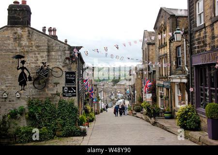 haworth village in bradford uk june 2019 - Stock Photo