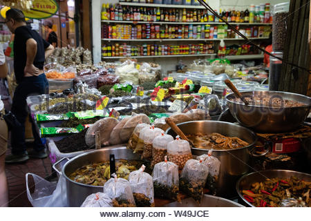 November 20th, 2018 - Bangkok (THAILAND) - Different types of cooked food in a market in Bangkok - Stock Photo