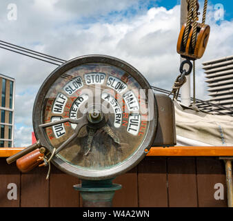 engine order telegraph, RSS Discovery Antarctic research ship, Dundee, Scotland, UK - Stock Photo