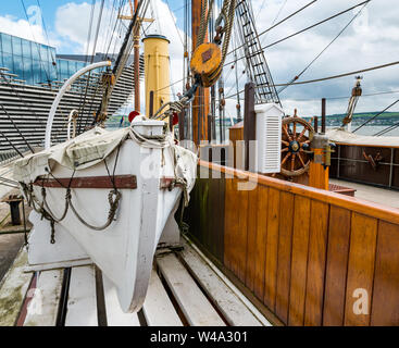 Lifeboat, RSS Discovery Antarctic research ship, Waterfront  Riverside Esplanade, Dundee, Scotland, UK - Stock Photo