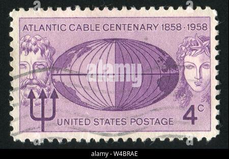 UNITED STATES - CIRCA 1958: stamp printed by United states, shows Neptune Globe and Mermaid, circa 1958 - Stock Photo