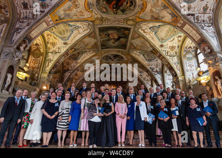 Munich, Germany. 22nd July, 2019. Markus Söder (CSU, middle row centre), Prime Minister of Bavaria, stands together with the winners after the award of the Bavarian Order of Merit. Credit: dpa picture alliance/Alamy Live News - Stock Photo