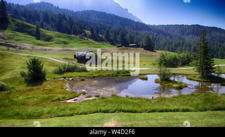 lake in Alta Badia, Alps Italy - Stock Photo