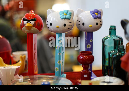 Pez candy dispensers at Retro and Vintage Design Expo in Helsinki, Finland - Stock Photo