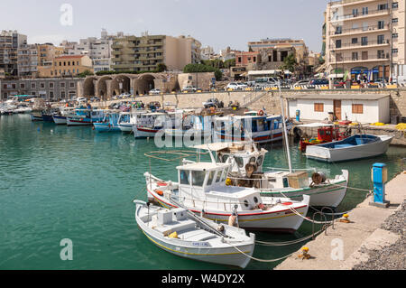 Fishing boats in the Old Venetian Harbour, Heraklion, Crete, Greece - Stock Photo