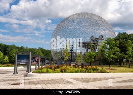 Montreal, Canada - 21 July 2019: Biosphere and Parc Jean Drapeau sign and map - Stock Photo