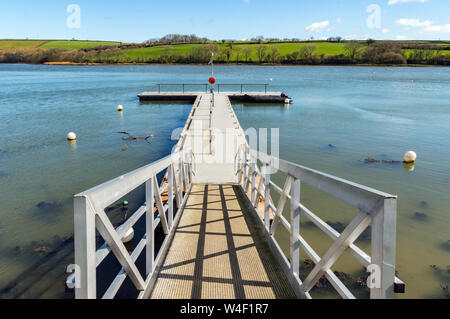 Jetty on the river Teifi estuary at St Dogmaels, Pembrokeshire, Wales. Pontoon harbour. - Stock Photo