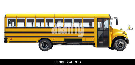 School bus pisolated on white background,  concept of going back to school, beautiful sunny day, 3d rendering - Stock Photo