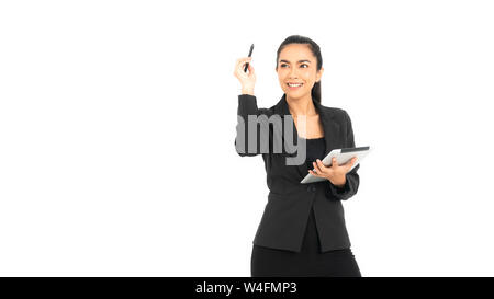Young mixed race businesswoman wearing a black work suit with arms folded smiling in a tablet and pen in a creative position isolated on white backgro - Stock Photo