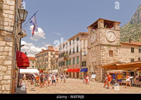 Clock tower at Kotor old town, Kotor, Montenegro. - Stock Photo