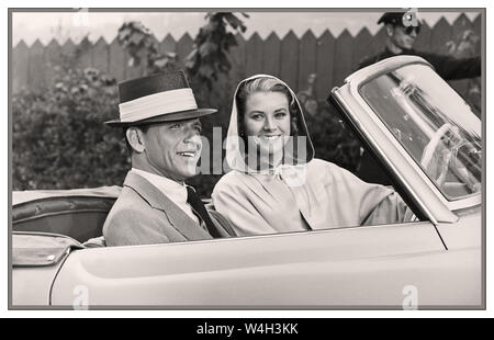 Grace Kelly and Frank Sinatra in a Mercedes open tourer 190 on film set of High Society 1956 High Society is a 1956 American romantic musical comedy film directed by Charles Walters and starring Bing Crosby, Grace Kelly, and Frank Sinatra. The film was produced by Sol C. Siegel for Metro-Goldwyn-Mayer, and shot in VistaVision and Technicolor, with music and lyrics by Cole Porter. High Society was the last film appearance of Grace Kelly, before she became Princess consort of Monaco. - Stock Photo