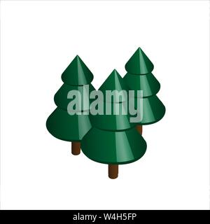 Group of 3 graphic stylized carniforous evergreen trees - Stock Photo