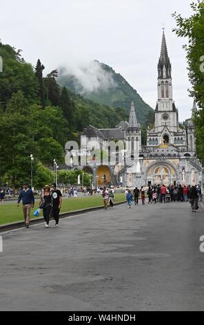 ihe basilicas in Lourdes, France - Stock Photo
