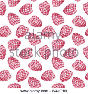 Sweet raspberry seamless pattern. Watercolor illustration for print and design. - Stock Photo