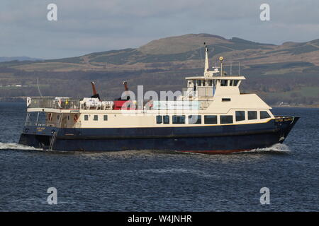 MV Clyde Clipper, a Firth of Clyde-based passenger vessel operated by Clyde Marine Services, passing East India Harbour in Greenock. - Stock Photo