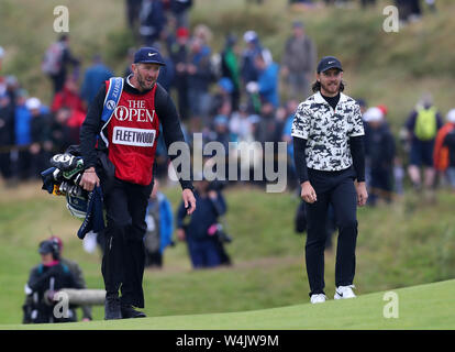 21st July, Portrush, Country Antrim, Northern Ireland; The 148th Open Golf Championship, Royal Portrush, final round; Tommy Fleetwood (ENG) walks to his ball on the 10th hole - Stock Photo