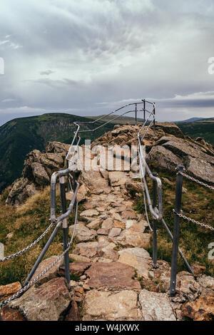 On the trail in Giant Mountains (Karkonosze), Polish - Czech Republic border. European Union. - Stock Photo