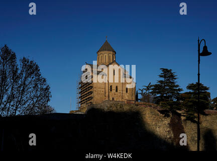 The Metekhi Church of Assumption in the historic neighborhood Metekhi. Metekhi, Tbilisi, Georgia, Caucasia, Eurasia. - Stock Photo