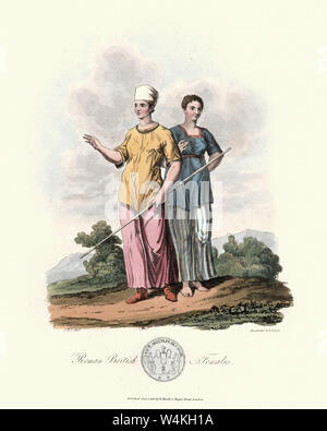 Vintage engraving of Costumes of Ancient Roman British women. 1815, The Costume of the Original Inhabitants of the British Islands, by MEYRICK, Samuel - Stock Photo