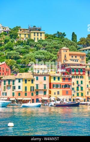 Waterfront in Portofino - famous resort on the Italian riviera in Liguria, Italy - Stock Photo