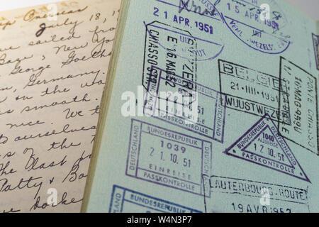 Diary and Passport, 1950s - Stock Photo