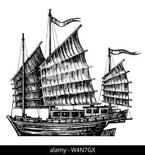 hand drawn design chinese Junk boat - Stock Photo