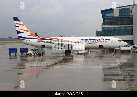 KATOWICE, POLAND - JULY 11, 2017: Smartwings chartered Boeing 737 at Katowice Airport, Poland. It is the 4th busiest airport in Poland, with 3.8 milli - Stock Photo