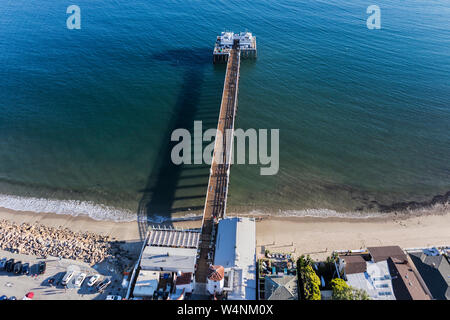 Aerial view of historic Malibu Pier State Park near Los Angeles on the scenic Southern California coast. - Stock Photo