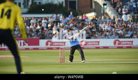 Hove Sussex UK 24th July 2019 - Phil Salt batting for Sussex Sharks  during the Vitality Blast South Group Match between Sussex Sharks and Hampshire at the 1st Central County Ground in Hove  . Credit : Simon Dack / Alamy Live News - Stock Photo