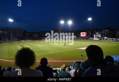 Hove Sussex UK 24th July 2019 - The Sussex fans enjoy the Vitality Blast South Group Match between Sussex Sharks and Hampshire at the 1st Central County Ground in Hove  . Credit : Simon Dack / Alamy Live News - Stock Photo