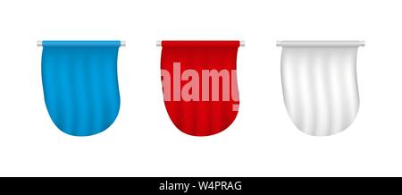 White, red, blue realistic 3D flags. Advertising blank banner set. - Stock Photo