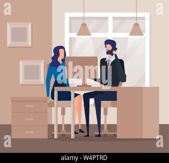 professional businesswoman and businessman teamwork sitting in the chair - Stock Photo