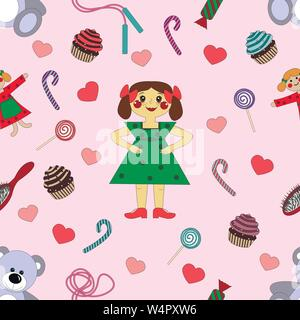 pattern baby girl Wallpaper in the center of sweets and toys on the background - Stock Photo