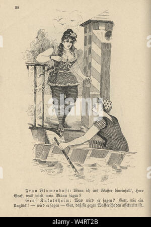 Vintage German cartoon of young couple going out in a rowing boat, 19th Century - Stock Photo