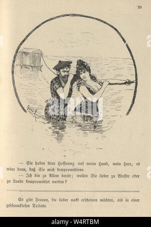 Vintage German cartoon of young couple having fun in the sea, 19th Century - Stock Photo